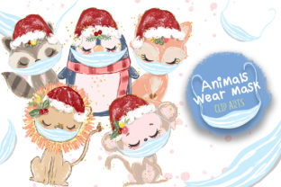 Christmas Animals Wearing Mask Clip Arts Graphic Illustrations By Hippogifts