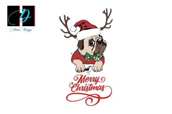 Print on Demand: Christmas Pug Vector Graphic Print Templates By Hana Design