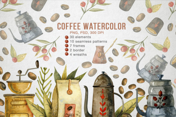Watercolor Coffee Illustrations Graphic