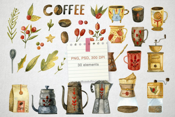 Watercolor Coffee Illustrations Graphic Download