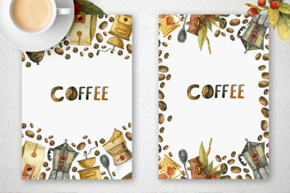 Watercolor Coffee Illustrations Graphic Image