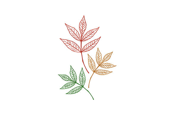 Print on Demand: Colorful Autumn Leaves Borders Embroidery Design By EmbArt