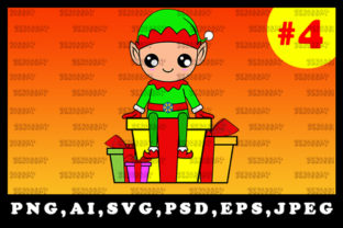 Print on Demand: Cute Christmas Elf Sublimation Clipart 4 Graphic Illustrations By zerobbat