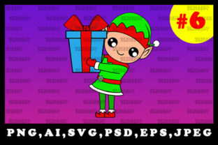 Print on Demand: Cute Christmas Elf Sublimation Clipart 6 Graphic Illustrations By zerobbat