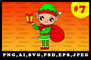 Print on Demand: Cute Christmas Elf Sublimation Clipart 7 Graphic Illustrations By zerobbat