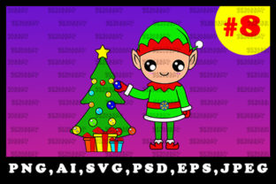 Print on Demand: Cute Christmas Elf Sublimation Clipart 8 Graphic Illustrations By zerobbat