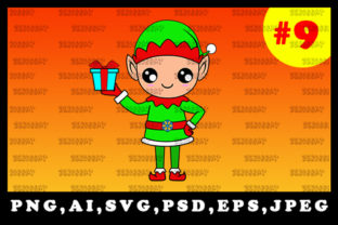 Print on Demand: Cute Christmas Elf Sublimation Clipart 9 Graphic Illustrations By zerobbat