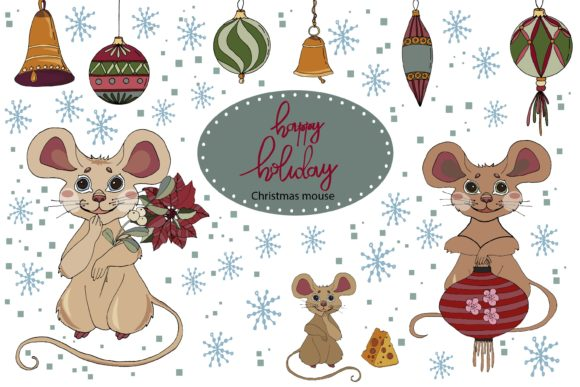 Print on Demand: Cute Mice. Creator of Christmas, New Yea Graphic Illustrations By ElenaZlataArt