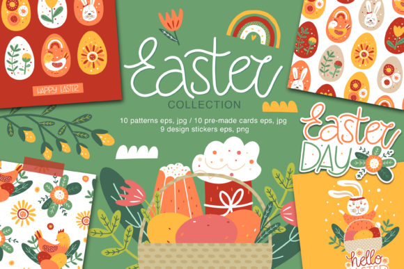 Print on Demand: Easter Collection. Pattern, Card, Sticke Graphic Illustrations By FindsArtDesign