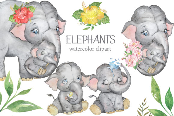 Elephant Clipart. Mother & Baby Elephant Graphic Illustrations By EvArtPrint