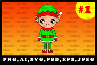 Print on Demand: Cute Christmas Elf Sublimation Clipart 1 Graphic Illustrations By zerobbat