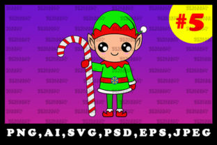 Print on Demand: Cute Christmas Elf Sublimation Clipart 5 Graphic Illustrations By zerobbat