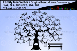 Print on Demand: Family Tree 32 Heart Template Graphic Illustrations By Arcs Multidesigns