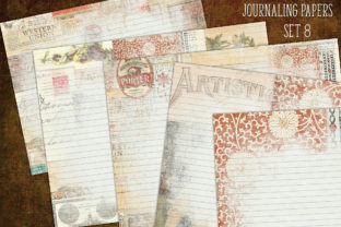 Journal Papers Set 8 Lined Graphic Backgrounds By LilBitDistressed