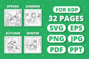 Print on Demand: KDP Unicorns & Seasons Coloring Book Graphic Coloring Pages & Books Kids By RefreshUp