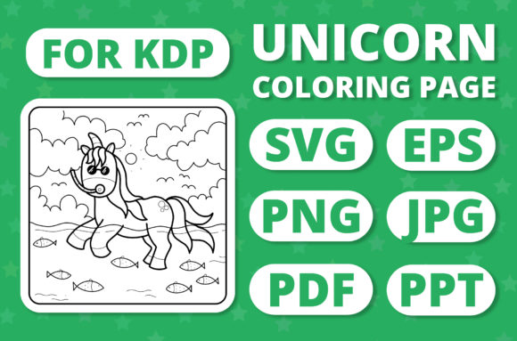Print on Demand: KDP Unicorns & Seasons Coloring Page #11 Graphic Coloring Pages & Books Kids By RefreshUp