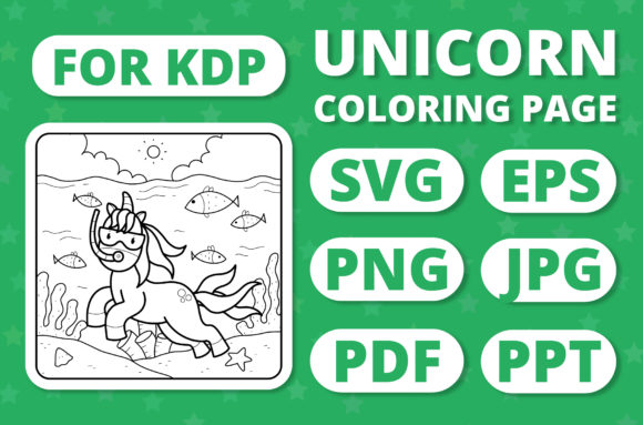 Print on Demand: KDP Unicorns & Seasons Coloring Page #15 Graphic Coloring Pages & Books Kids By RefreshUp