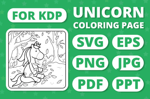 Print on Demand: KDP Unicorns & Seasons Coloring Page #21 Graphic Coloring Pages & Books Kids By RefreshUp
