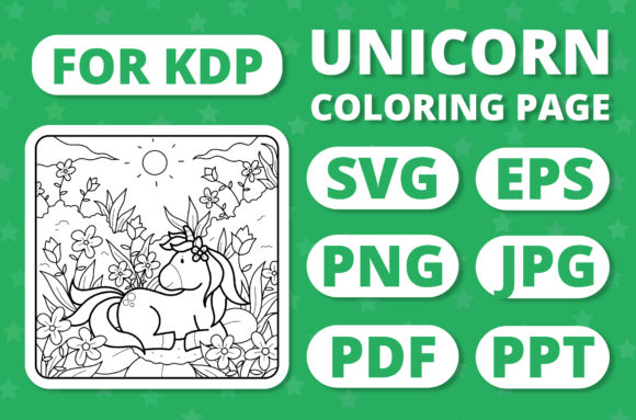 Print on Demand: KDP Unicorns & Seasons Coloring Page #7 Graphic Coloring Pages & Books Kids By RefreshUp