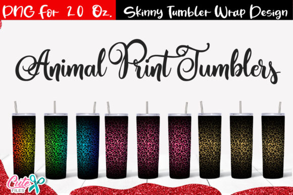 Leopard 20 Oz. Skinny Tumbler Wrap Graphic Print Templates By Cute files