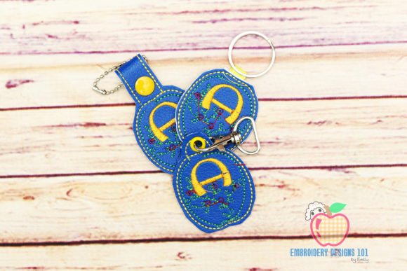Letter a Floral Design ITH Key Fob Teenagers Embroidery Design By embroiderydesigns101
