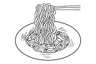 Noodle with Chopsticks Graphic Illustrations By han.dhini