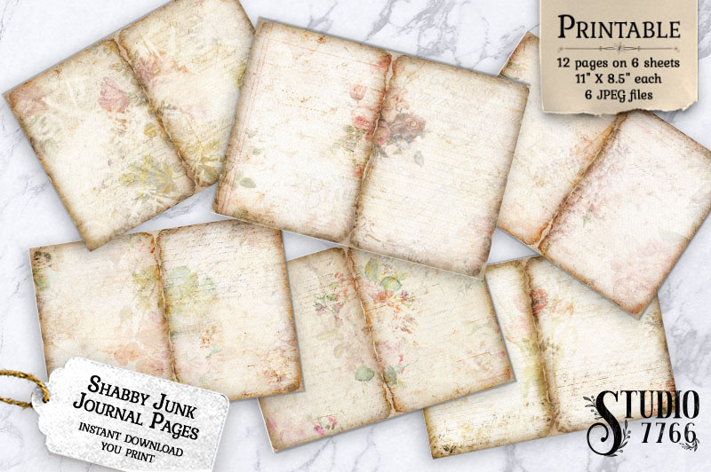 Printable Shabby Junk Journal Pages SVG File