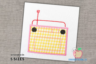 Retro Old Radio with Antenna Applique Backgrounds Embroidery Design By embroiderydesigns101