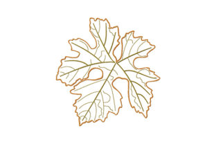 Print on Demand: Single Autumn Falling Leaf Autumn Embroidery Design By EmbArt