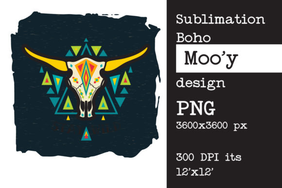 Sublimation Design Bull  Skull Graphic Print Templates By KundolaArt