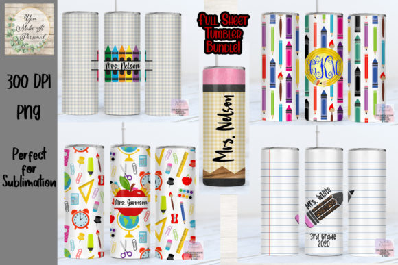 Print on Demand: Teacher Bundle, Great for Tumblers! Grafik Plotterdateien von You Make It Personal