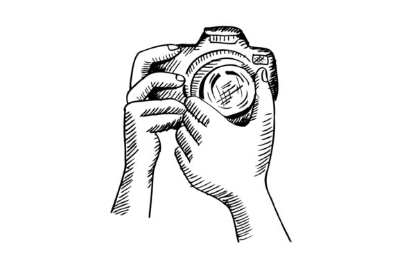 Two Hands Holding a Camera. Graphic Illustrations By han.dhini
