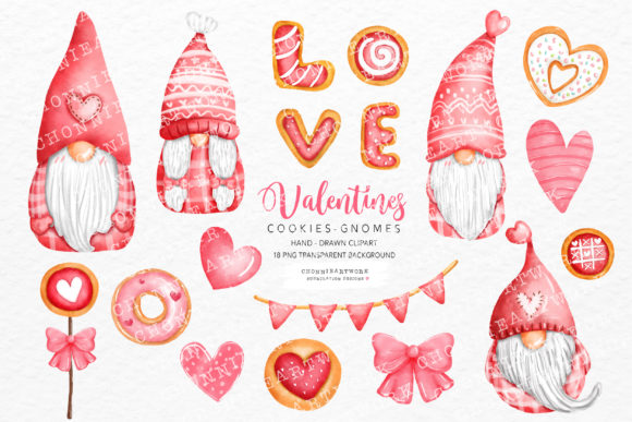 Valentine's Day Gnomes Clipart Bundle Graphic Crafts By Chonnieartwork