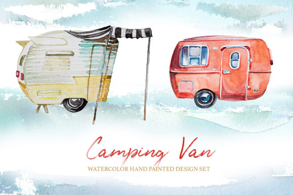 Watercolor Camping Van Clipart Set Graphic Illustrations By artcreationsdesign