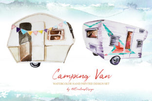 Watercolor Camping Van Design Set Graphic Illustrations By artcreationsdesign