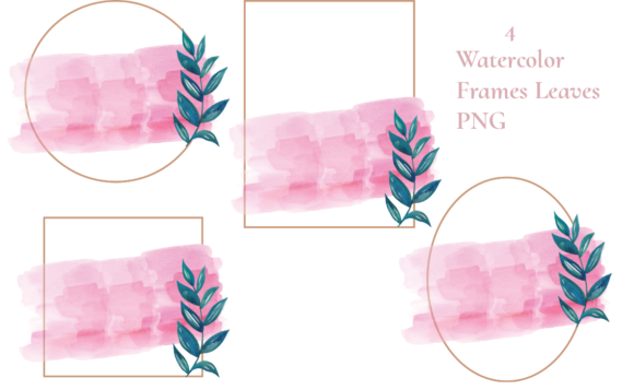 Watercolor Rose Frames Leaves Graphic Illustrations By roosmom