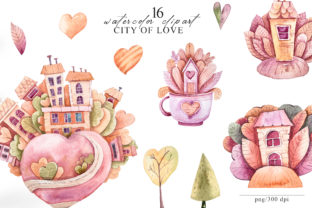 Print on Demand: Watercolor Valentines Day Clipart Set Graphic Illustrations By Tiana Geo