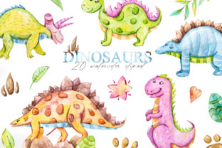Print on Demand: Watercolor Dinosaur Clipart. Graphic Illustrations By Tiana Geo