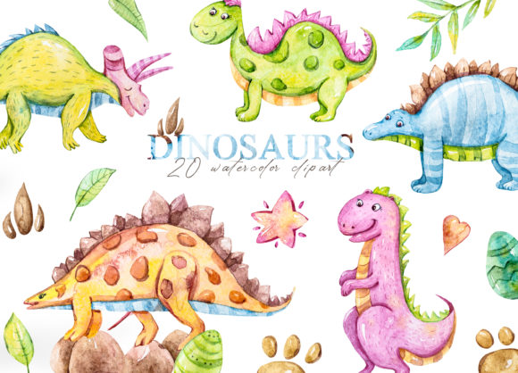Print on Demand: Watercolor Dinosaur Clipart. Grafik Illustrationen von Tiana Geo
