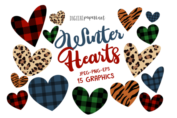 Print on Demand: Winter Hearts Clipart Set Graphic Illustrations By DigitalPapers