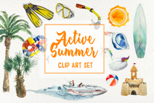 Print on Demand: Active Summer - Watercolor Clip Arts Graphic Illustrations By tatibordiu