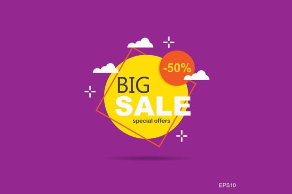 Print on Demand: Big Sale,Yellow Tag Templates Graphic Graphic Templates By Pidco.art