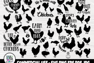 Print on Demand: Chicken SVG Cut Files, Chicken Bundle Graphic Crafts By nibaartstudio
