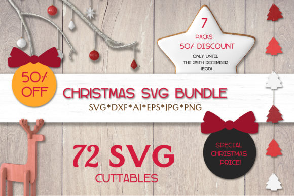 Print on Demand: Christmas SVG Bundle | Silhouettes Graphic Crafts By pufanya