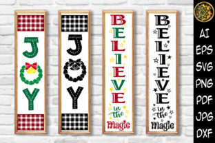 Print on Demand: Christmas Vertical Porch Sign Set 5 Graphic Illustrations By V-Design Creator