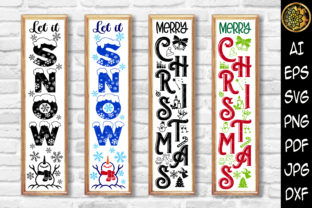 Print on Demand: Christmas Vertical Porch Sign Set 6 Graphic Illustrations By V-Design Creator