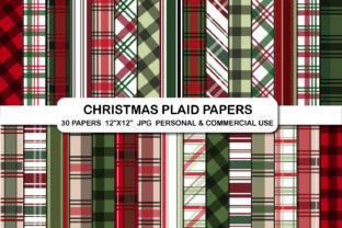 Christmas Plaid Pattern Digital Papers Graphic Backgrounds By bestgraphicsonline