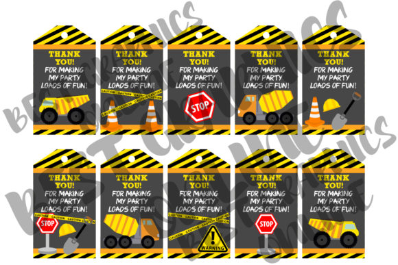 Download Construction Printable Party Favor Tags SVG Cut Files