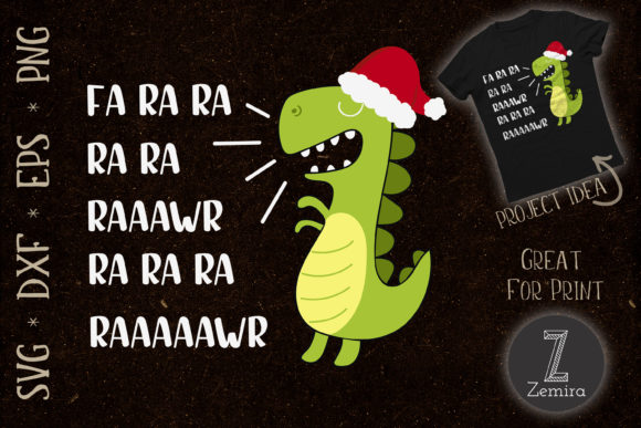 Print on Demand: Funny Dinosaur Christmas T Rex Xmas Graphic Print Templates By Zemira
