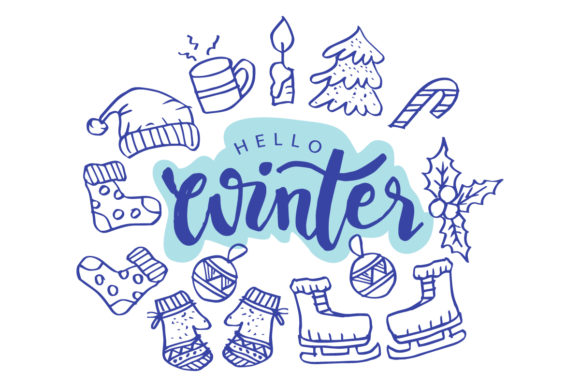 Hello Winter Hand  Lettering Phrase. Graphic Crafts By han.dhini